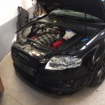 audi rs4 service, inspection and carbon fibre front splitter